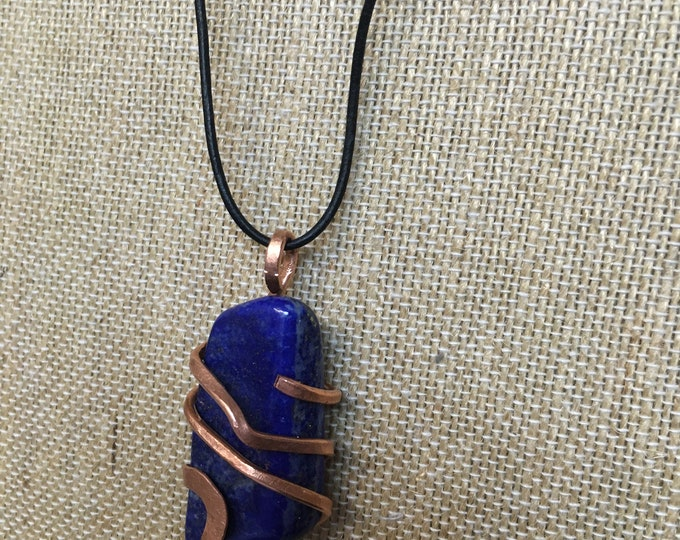 Lapis Gemstone Copper Pendant Earthy Pagan Crystal