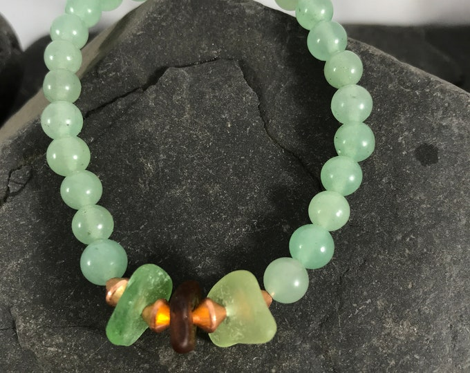 Gifts for Mom Aventurine Beach Glass Bracelet Coastal Jewelry