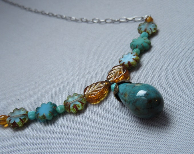 Delicate Floral Necklace Turquoise gold earth tones Silver Chain