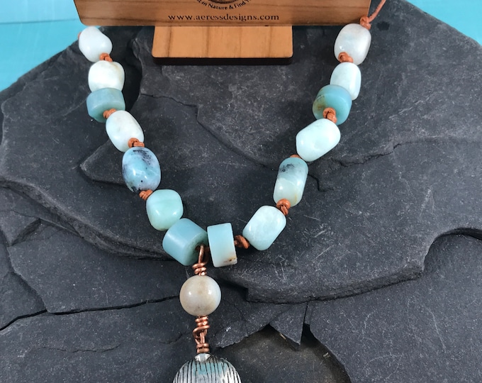 Amazonite Pewter Necklace Adjustable Sea Calls Me