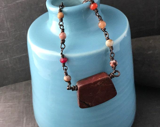 Copper Wire Wrapped Picasso Jasper Necklace