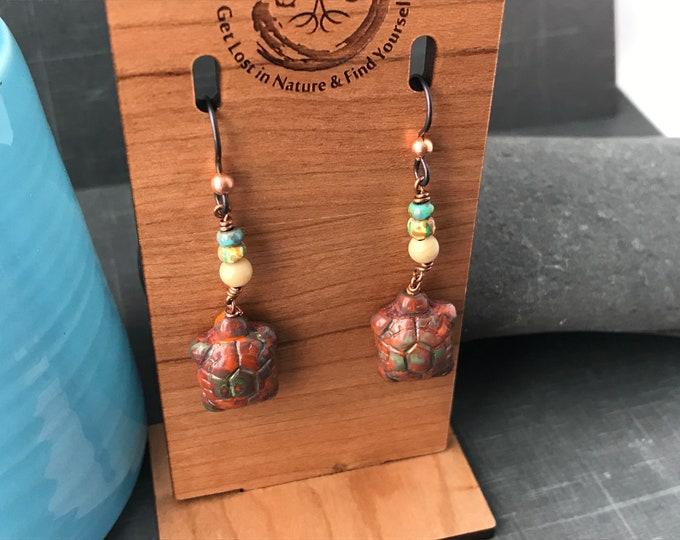 Turtle Earrings, Czech Glass Jewelry, Nature Jewelry
