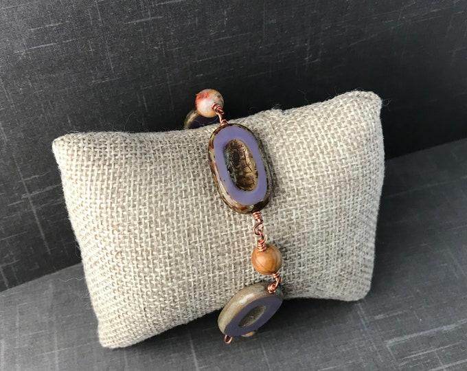 Purple Czech Glass Bracelet  Copper Bracelet