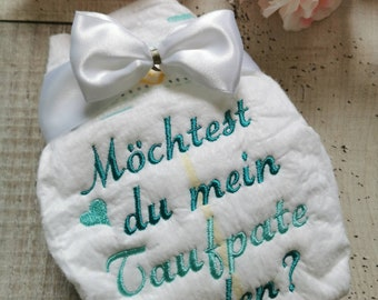 embroidered diaper, gift for birth, memory, baptism