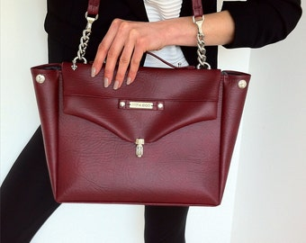 Bordeaux / Maroon / Burgundy / color / bag / Unique handbag / Big size bag  / Vegan leather / Vegan bag / Dark red bag / handbag / ARTelEGO