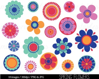 Flower clipart spring flower clipart clip art digital etsy clipart flowers flower clipart clip art bright flowers spring flowers retro flowers floral commercial personal buy 2 get 1 free mightylinksfo