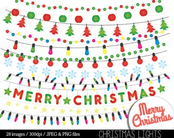 Christmas Lights Clipart String Fairy Clip Art Colored Festive Holiday Merry Xmas