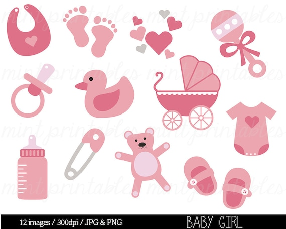 Baby Shower Clipart Baby Clipart Baby Girl Clip Art Etsy