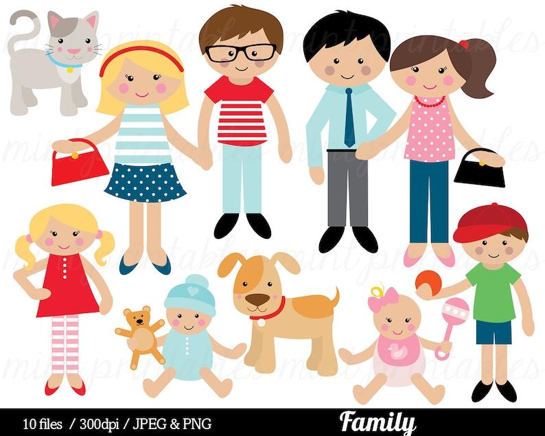 Family Clipart Family Clip Art Mom Mum Dad Cat Dog Baby Boy Etsy