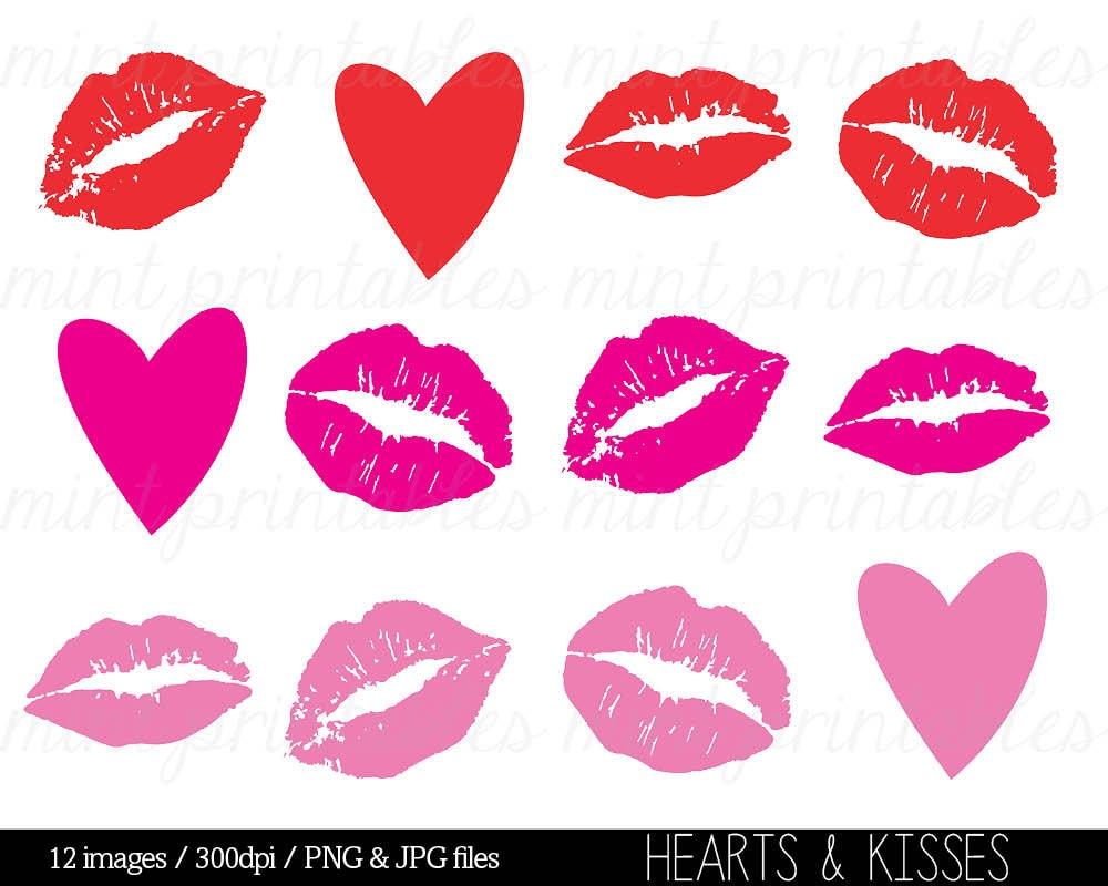 Kisses Clipart Clip Art Heart Clipart Hearts Kiss Smooch | Etsy