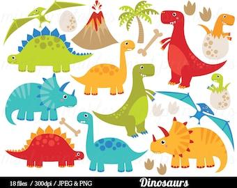 Dinosaur Clipart, Dinosaurs Clip Art, Tyrannosaurus Rex Stegosaurus Triceratops pterodactyl Egg - Commercial & Personal - BUY 2 GET 1 FREE!