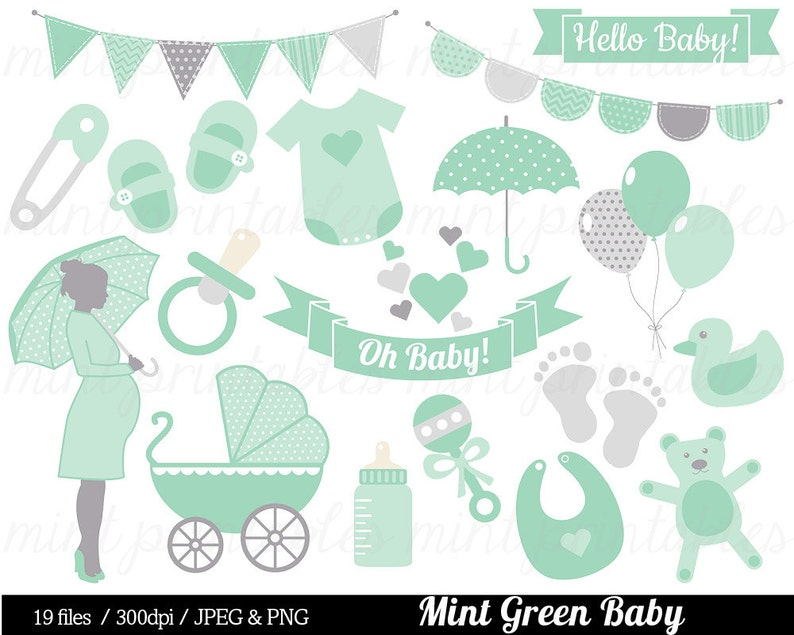 Baby Shower Clipart Mint Green Baby Clipart Baby Clip Art Etsy