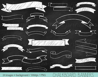 Chalkboard Banners Clipart, Chalk Clipart, Chalkboard Ribbons, Chalkboard Clipart, Doodle - Personal & Commercial - BUY 2 GET 1 FREE!