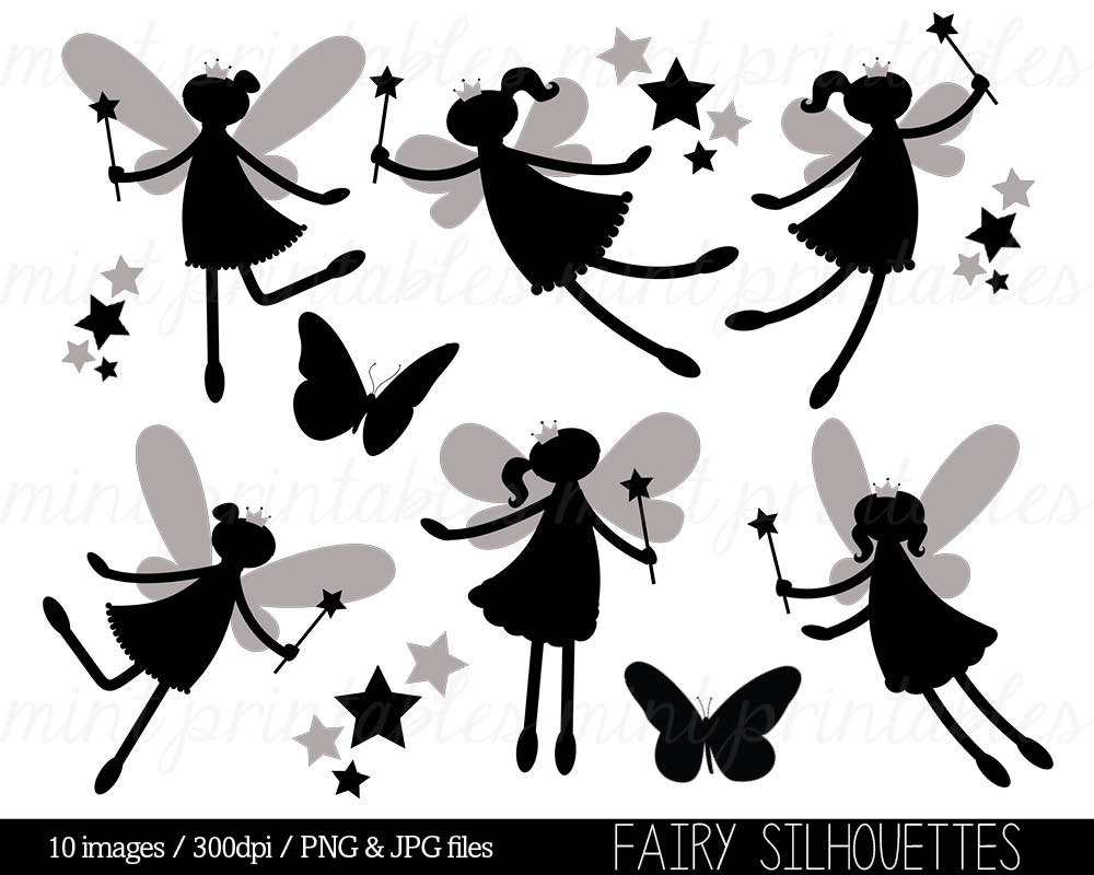 fairy silhouette clipart fairy clip art digital clipart etsy