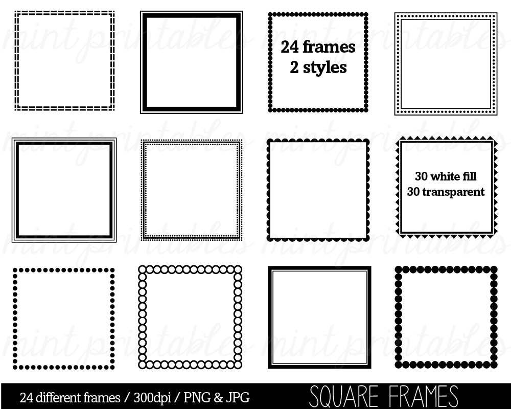 Square Frames Clipart Clip Art Square Borders Clipart Clip | Etsy