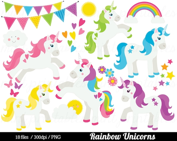 Pink and Purple Unicorn Clipart Collection by Graphic Devine | Etsy