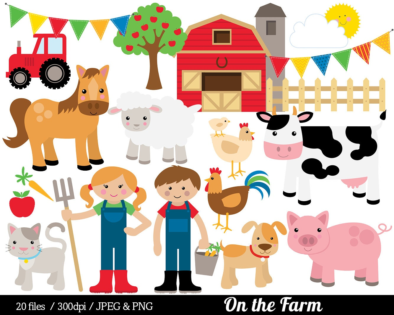 Farm Animal Clipart Farmyard Clip Art Barn Farmer Horse ...