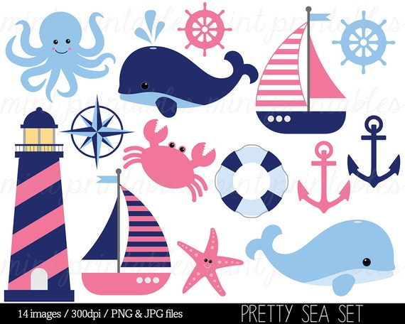 Nautical Clipart Clip Art Anchor Blue Pink Whale