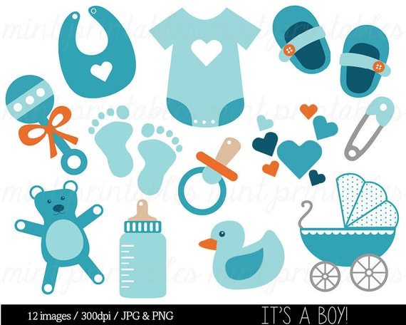 Baby Boy Baby Shower Clipart Clip Art Blue Baby Clipart Etsy