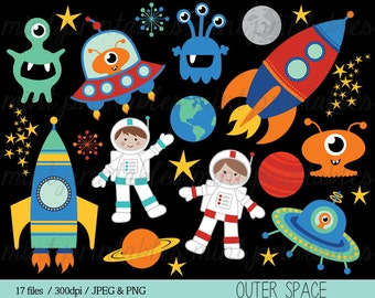 Space Clipart, Rocket Clipart, Spaceship Rocketship Astronaut Alien Outer Space Planets Boy - Commercial & Personal - BUY 2 GET 1 FREE!