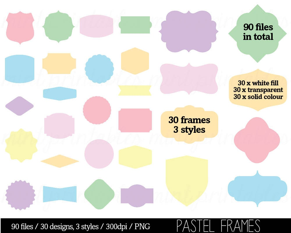 Rainbow pastel Frame Border Clip Art Clipart, Colored Coloured ...