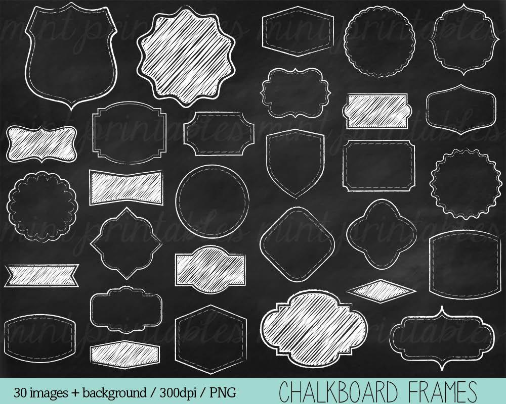 Tafel Rahmen Clipart Kreide Cliparts Clip-Art-Grenzen | Etsy