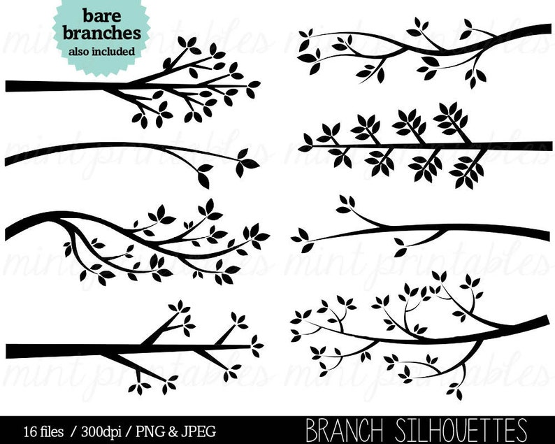 Branch Clipart Tree Branch Silhouette Clip Art Tree Etsy