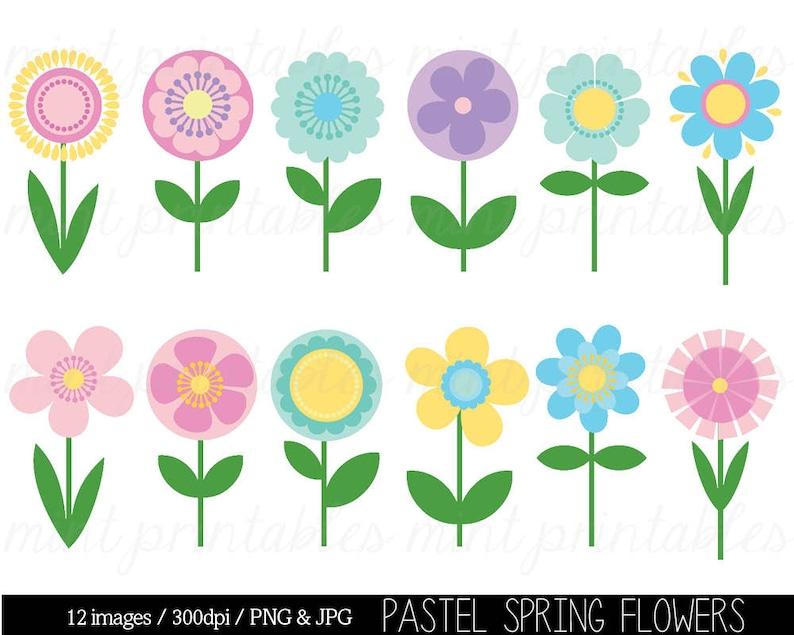 Flower Clipart Clip Art Spring Flower Clipart Clip Art Etsy