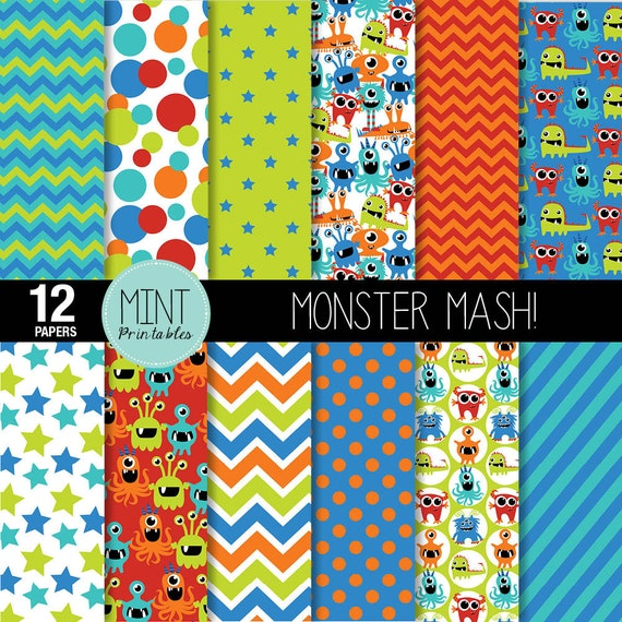 monster digital paper monsters scrapbooking paper party etsy