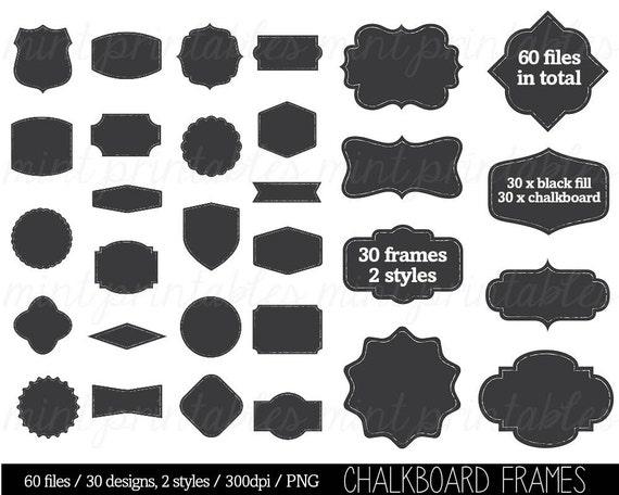 Chalkboard Frame Borders Clip Art Clipart decorative labels | Etsy