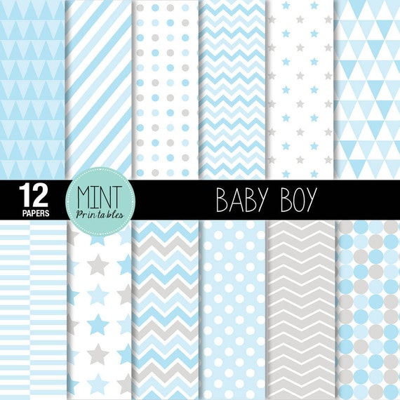 image about Printable Patterned Paper titled Youngster Boy Electronic Paper, Sbooking Papers, Patterned Paper, Printable Sheets, Blue Boy or girl Shower, Celebrities, Chevron - Acquire 2 Order 1 No cost!