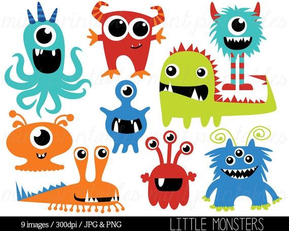 Monster Clipart Monster Clipart Grafiken Geburtstag Clipart Etsy