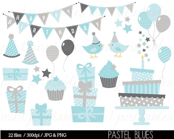 Birthday Party Boy Birthday Clipart Commercial /& Personal Bunting Clipart BUY 2 GET 1 FREE! Cake Baby Blue Digital Clip Art