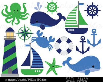 Nautical Clipart Clip Art, Anchor Clipart, Whale Clipart, Sailing Ocean Lighthouse Sailboat Sea - Commercial & Personal - BUY 2 GET 1 FREE!