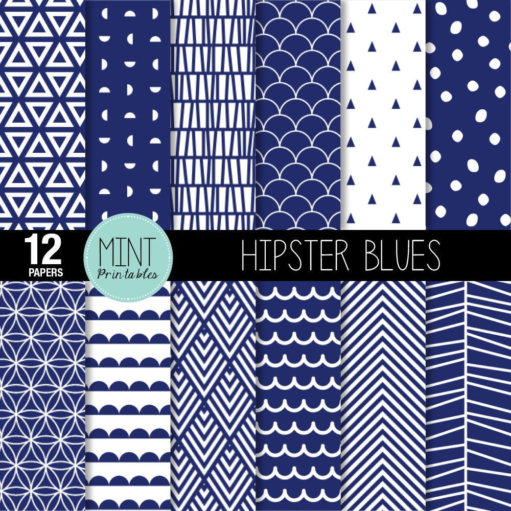 Navy And White Scrapbooking Paper Digital Paper Geometric Pattern Modern Chevron Printable Sheets Blue Background Buy 2 Get 1 Free
