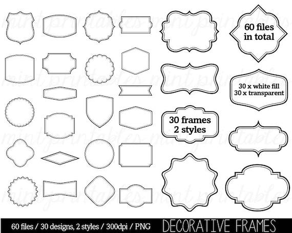Border Clip Art Clipart Digital Frame Label Clipart Tags | Etsy