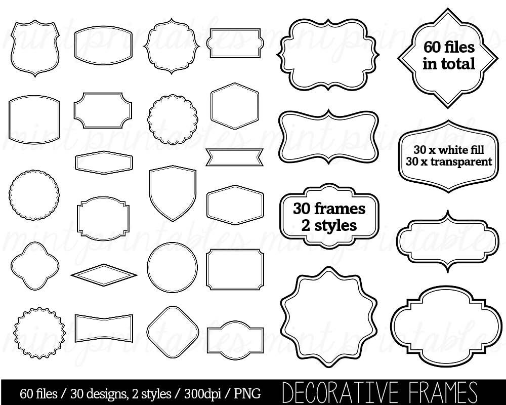 border clip art clipart digital frame label clipart tags | etsy