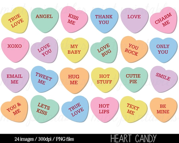 Heart Clipart Heart Candy Clip Art Sweethearts Candy   Etsy