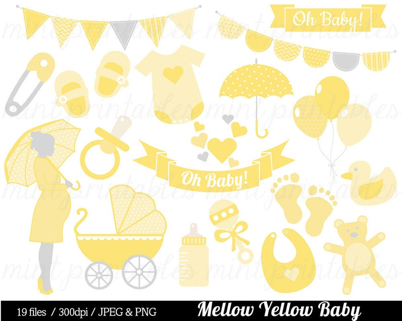 Baby Shower Clipart Yellow Baby Clipart Baby Clip Art Boy Etsy