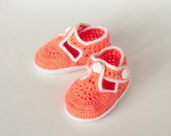Orange Handmade Crochet Baby Girl Booties (9-12 mo)
