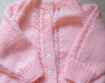 Hand knitted baby cardigan. 0-6 months