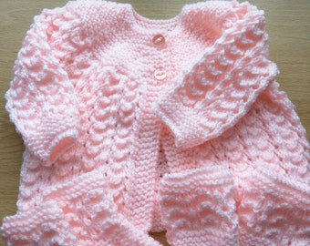 Hand knitted pale pink Baby Cardigan 0-3 months