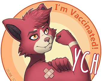 I'm Vaccinated! YCH - Furry / Anthro / Fursona Con Badge - Custom Art Character Profile Image or Icon [YOUR CHARACTER]