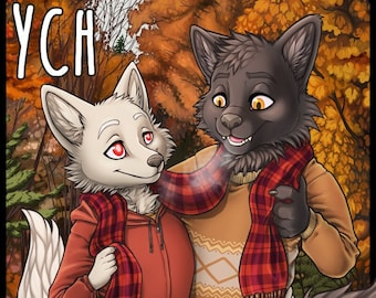 YCH Shared Scarf Fall - Furry / Anthro / Fursona Con Badge - Custom Art Character Profile Image or Icon [YOUR CHARACTER]