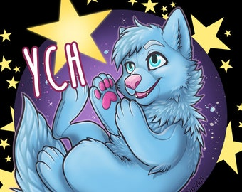Star Baby Plush YCH - Furry / Anthro / Fursona Con Badge - Custom Art Character Profile Image or Icon [YOUR CHARACTER]