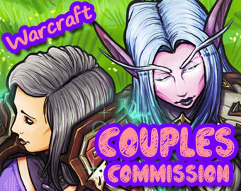 DOUBLE character - World of Warcraft Custom Character Couples Portrait  Image [YOUR CHARACTER] (2 chars in 1 image)WoW