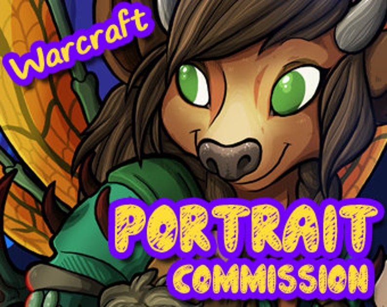 SINGLE character  World of Warcraft Custom Character Portrait image 0
