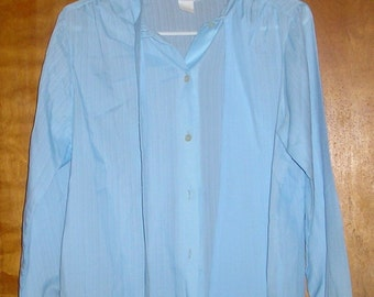 Vintage Sheer Blue button down Sweet n Sassy Blouse 1970s