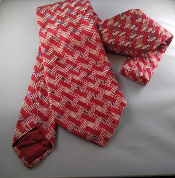 1960s Blue-Green Thai Silk Tie with red /& white cross pattern  vintage Dupioni woven silk necktie with flowerclover pattern