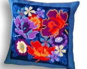 Floral needlepoint pillow kit quot Florabundance quot